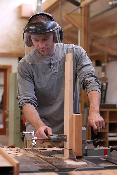 Austin cutting mortise cheek for Otwell Table rail