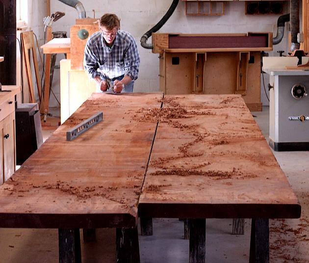Jeff planing mahogany planks