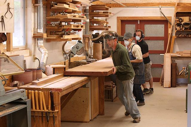 Jointing large mahogany plank