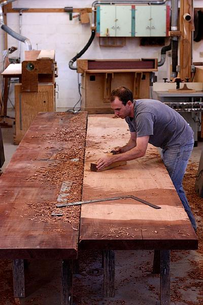Level planing mahogany planks