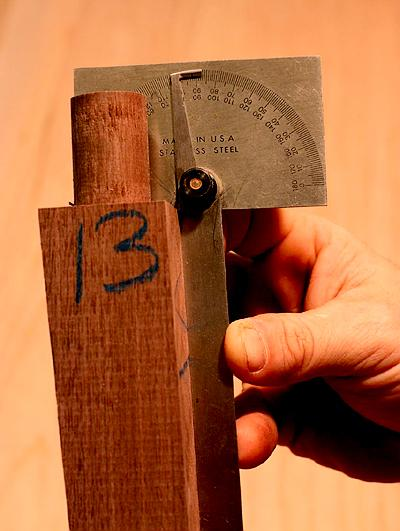 The tenon shoulders are cut at 2 degrees to flair the legs.