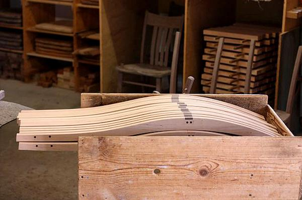 Chair leg notches plugged for working the piece