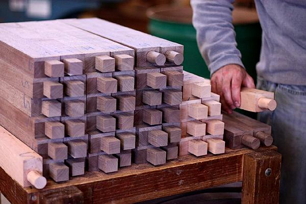 Square tenons, ready to be rounded