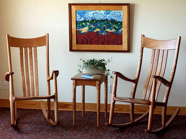 Two Cherry Rockers with Side Table