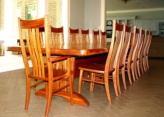 Mahogany Trestle Table and Chairs in place