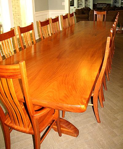 Mahogany Trestle Table with Chairs