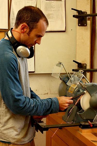 Austin sharpening a turning tool