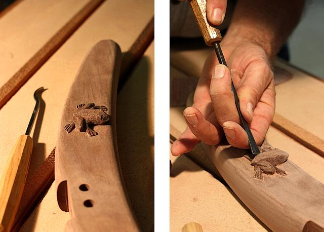 Carving a frog on a rocking chair leg