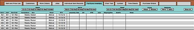 Furniture Inventory database screen