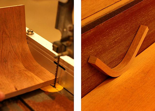 Sawing and sanding bent laminated braces