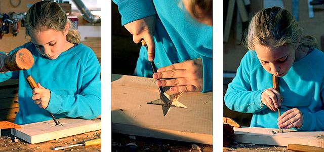 Bela carving a star