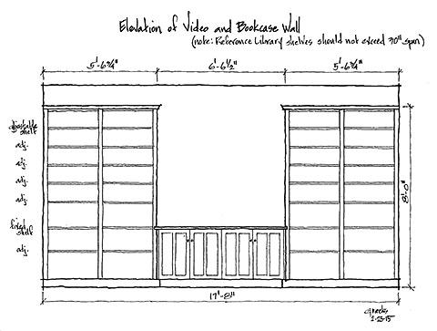conference room bookshelf elevation