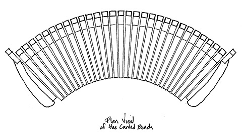 Plan view of curved bench
